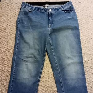 Catherines Zip w/Elastic Straight Jeans 18W H591